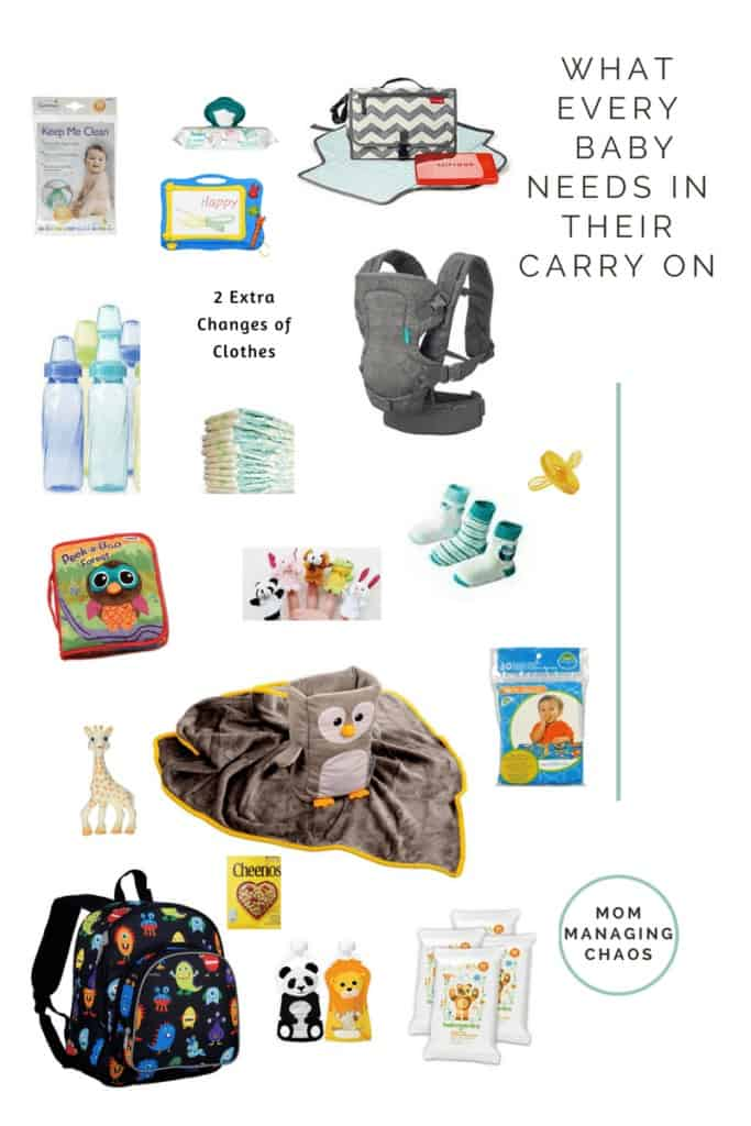 Need to know what to bring when traveling with your baby? Here is a list of essential items to pack in your carry on for the plane.