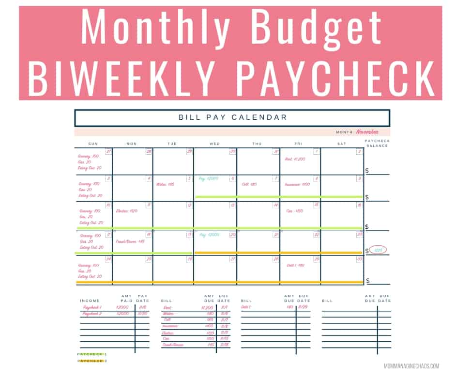 how to budget biweekly pay   paying monthly bills