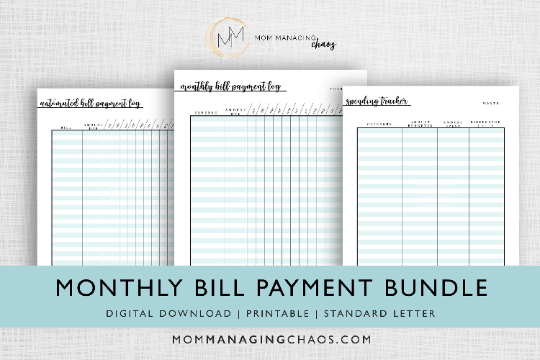 monthly bill payment log bundle